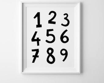 Numbers posters, Scandinavian print, minimal print, numbers wall art, Scandinavian wall decor, numbers print, minimalist poster, kids prints