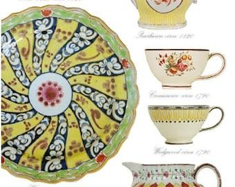 Blank Greetings Card - Yellow Glaze on Georgian Cups, Jugs and Plate