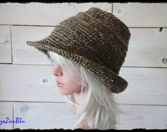 FEDORA HAT, Crochet Hat with Brim, Boho Style, Festival Wear, Brown Hat, One Size, Wool Hat, Fall Hat, Floppy Hat, Travel Hat [H002-JP17]