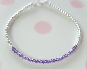Amethyst Bracelet/Amethyst Jewellery/February Birthstone/Purple Ombre/Dainty Stacking Bracelet/Amethyst/February Gift/Gift For Wife