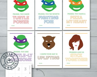 Kids Valentine Cards  |  Teenage Mutant Ninja Turtles Valentines  |  TMNT, Leonardo, Raphael, Donatello, Michaelangelo  |  Instant Download