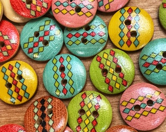 15mm Rhombus print  wooden buttons. Mixed buttons,Rainbow buttons, sewing, crafts, scrapbook, cute wooden buttons