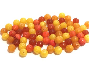 Orange Yellow Bead Mix / Orange Bead Mix / 8mm Yellow Beads / 8mm Orange Beads / 8mm Stone Beads / 8mm Round Beads / 75 Beads