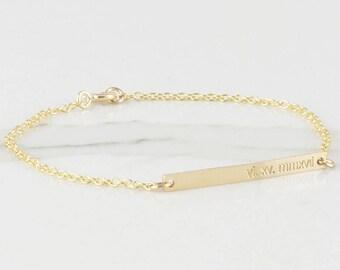 Skinny Bar Bracelet / Nameplate Bracelet /coordinates Bracelet / Personalized Jewelry / Bridesmaid Gift / Engraved Jewelry ( B OD 30.35 )