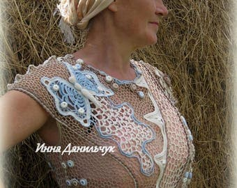 """Dress-tunic """"Aerial Summer"""", associated in the technique of Irish lace"""