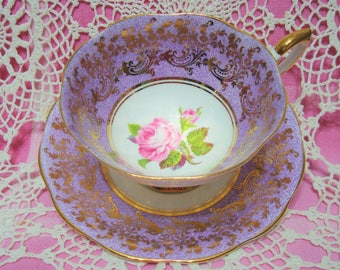 Beautiful Vintage Lavender ROYAL STANDARD with Gold Filigree and Pink Rose Cup & Saucer.