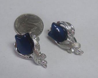 Vintage Blue Tulip  Clip on ( Screw on Earrings) Earrings