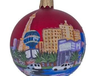 "3.25"" Las Vegas Glass, Nevada Glass Ball Christmas Ornament"