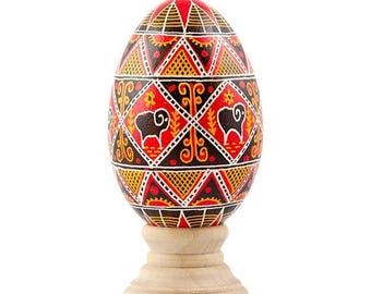 Ram Real Goose Eggshell Hand Decorated Ukrainian Easter Egg Pysanky