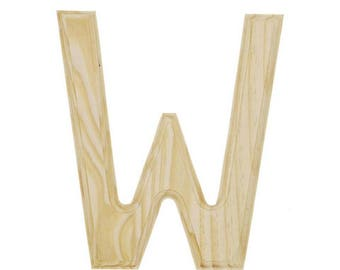 """6"""" Blank Unfinished Wooden Letter W"""