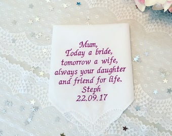 Mother of the Bride handkerchief / wedding handkercheif / mother wedding gift / embroidered handkerchief / mum handkerchief
