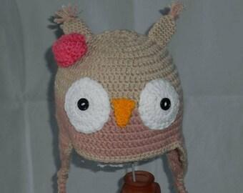 Beanie OWL girl size 18/36 month handmade