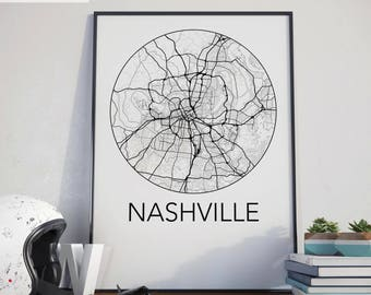 Nashville, Tennessee Minimalist City Map Print