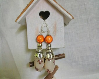 earrings with white and copper polymer French creation