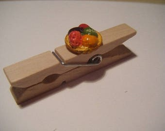 Clothespin decoration gluttony candy wood Brown bookmark
