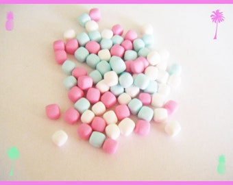 ♥ 75 miniature Marshmallow Fimo polymer clay for jar - pastel ♥