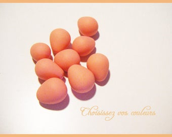 Set of 9 small Easter egg peach polymer Fimo