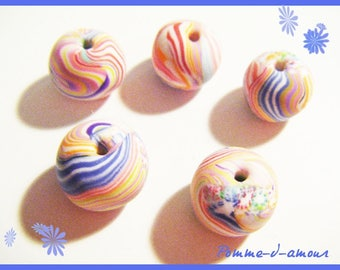 ♥ 5 ♥ polymer clay fimo round beads