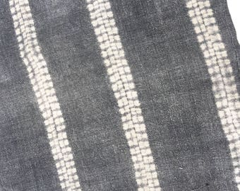 Shibori Indigo Chinese Hemp Fabric, Yao Hill Tribe, Asia, Sophisticated Grey Color