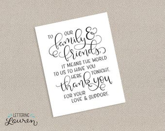 Family & Friends, Wedding Printable, Modern Script and Lettering, DIY, Printable Thank You Sign, Instant Download, 5x7, 8x10