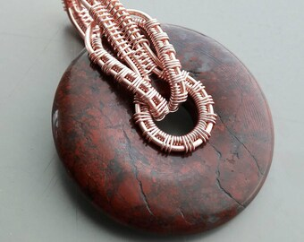 Poppy Jasper Donut Pendant Wire Wrapped