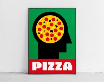 Pizza. Wall art. Original poster. High quality giclée print. signed by designer.