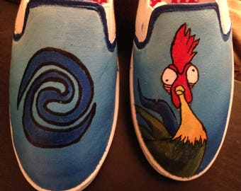 Disney's Moana Hei Hei Inspired Hand Painted Shoes