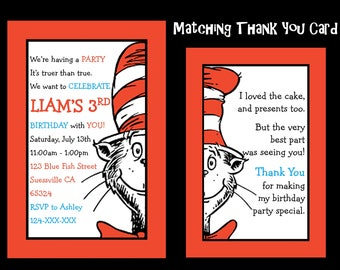 Dr Seuss Birthday Invitation, The Cat In The Hat Birthday, Cat in the Hat Party, Dr Suess Invite - Any Age - YOU PRINT - JPEG file only.