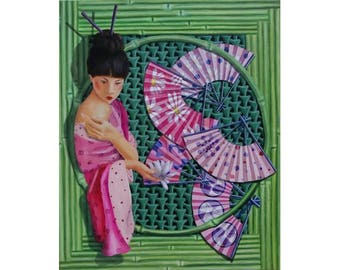 Portrait geisha with fan and bamboo oil figurative art painting