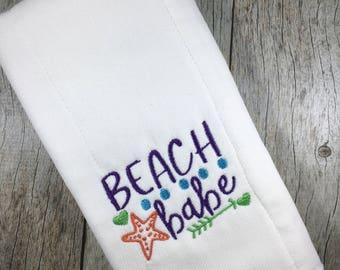 Baby Burp Cloth, Baby Shower Gift, Embroidered Gift, New Mom, Beach Bum, Beach Lover Baby Gift, 1st Beach Trip, Beach Babe, Baby Beach Gift