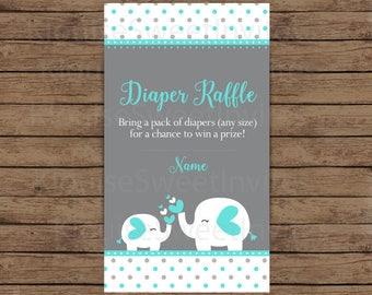 Printable Green and Gray Polka Dot Elephant Baby Shower Diaper Raffle, JPEG 300DPI, 3.5x2 inches