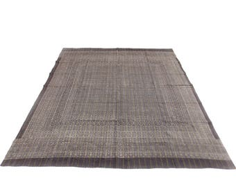 Floral Design Indigo Handmade Kantha Throw Bedspread Reversible Vintage Quilt in Brown Color