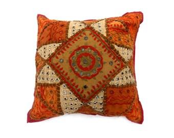 "Indian Pure Cotton Cushion Cover Home Patch Work Decorative Orange Color Size 17x17"""