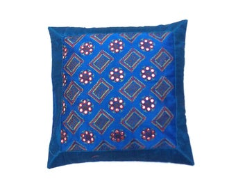 Indian Silk Cushion Cover Home Brocade Work Decorative Blue Color Size 17x17""