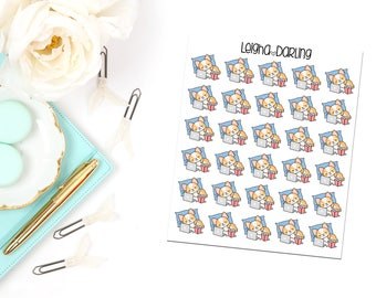 Chill/Relax Corgi Planner Stickers