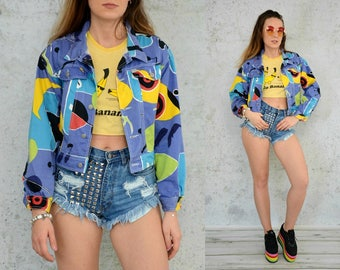 Rainbow jean jacket Denim vintage Abstract hipster purple Rocker colorful button up 1990's women oversized