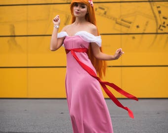 Giselle Enchanted Pink Dress Disney Cosplay Cartoon Film Women