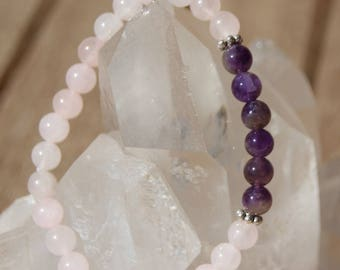 Bracelet rose quartz and Amethyst beads 6 mm