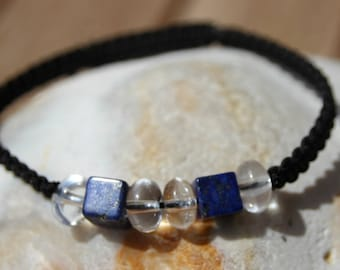 Black wire with lapis lazuli beads shamballa bracelet