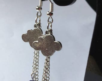 Cloud, silver chains earrings and blue beads