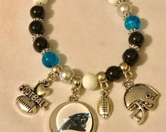Handmade Adult Carolina Panthers Stretch Bracelet