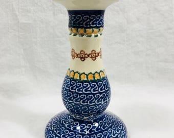 Vintage Boleslawiec Polish Pottery Candlestick
