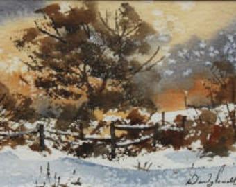 Mounted greetings card, original, Snowfall (4)
