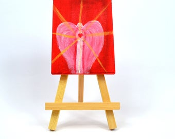 MINI CANVAS art- mini angel art- angel gift ideas-budget gift ideas- angels-small painting- Angel of Love-spiritual art-canvas and easel