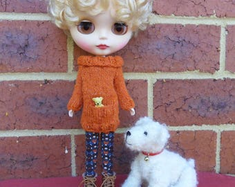 BLYTHE  DOLL Sweater--   Fine Tweed Knitted Orange Sweater--