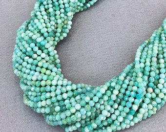 2mm 3mm Blue Amazonite Beads , Natural Amazon Stone Beads , Amazonite Faceted  Beads , Amazonite Gemstone Stone ,15.5 inch Full Strand