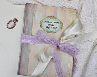 Vintage Wedding Guest Book (video), Shabby Chic Antique Photo album, Custom Wedding Photo Booth album