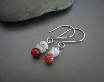 Moonstone and Carnelian Gemstone Earrings