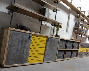 Imogen Reclaimed Scaffolding and OSB Board Media Unit with Vintage Filing Cabinet and Ladder Rung Components - Bespoke Industrial Furniture