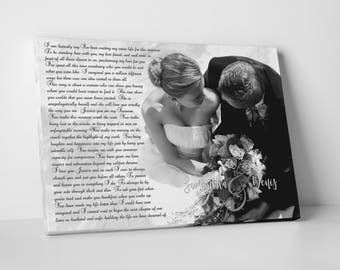 Personalized Wedding Song Lyric Picture Canvas, First Dance Picture Canvas, Gift for Bride and Groom, Custom Framed Photo with your text